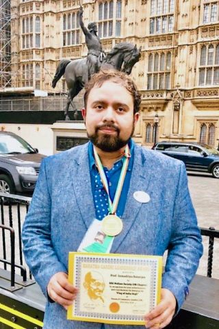Dr. Somaditya Banerjee won the Mahatma Gandhi Leadership Award on May 20th in London, England. (APSU)