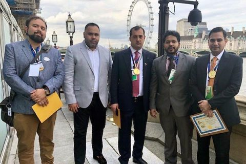 Austin Peay's Dr. Somaditya Banerjee received his award on the banks of the River Thames. (APSU)