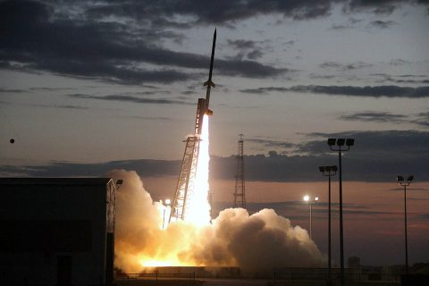 A NASA Terrier-Improved Orion suborbital sounding rocket launches, carrying Austin Peay State University's first space-bound payload. (NASA)