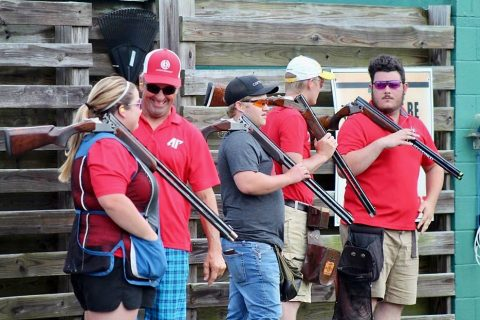 Austin Peay State University Clay Target Team (L to R) Makayla Boisseau, coach Marty Moore, Wylie Randall, John Michael Baggett and Hunter Purviance.