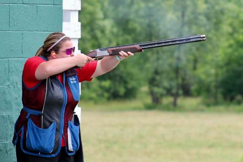 Club President Makayla Boisseau shoots during the competition.