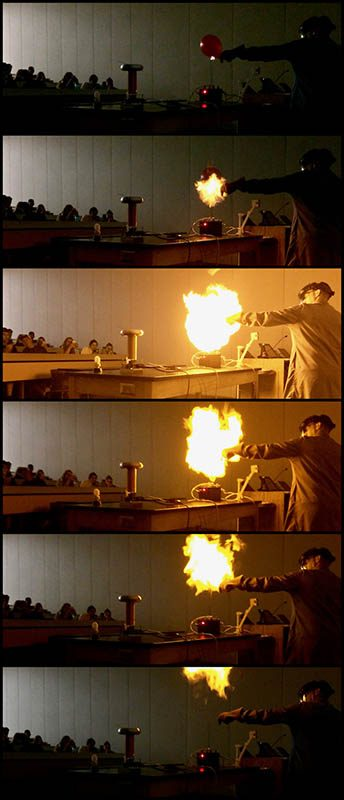 Bryan Gaither – lab manager for the APSU Department of Physics, Engineering and Astronomy – detonated three hydrogen-filled balloons with a 15,000-volt Jacob's Ladder. (APSU)