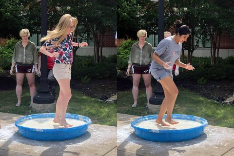 Students at the Governor's School for Computational Physics learned what it's like to walk on water this week -- oobleck, that is -- at Austin Peay State University. (Karen Meisch, APSU)