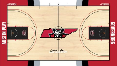 Artist Rendering of the new Austin Peay Dunn Center floor design. Design is subject to change. (APSU Sports Information)