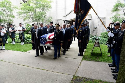 Pallbearers carry the casket of Staff Sgt. Al Mampre to a waiting hearse following a funeral service on Saturday, June 15, 2019, at St. Luke's Episcopal Church in Evanston. Mampre enlisted in the Army in 1942 and served as a medic with Easy Company, 2nd Battalion, 506th Parachute Infantry Regiment, 101st Airborne Division during World War II. (Sgt. David Lietz)
