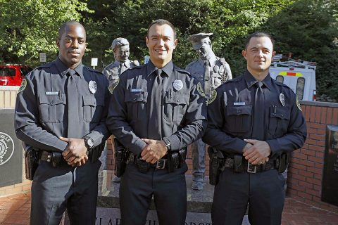(L to R) Clarksville Police Officers Donavane Robinson, Robert Moss, and Daniel Smith.