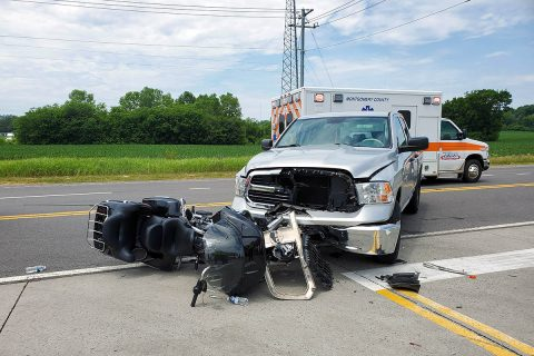 According to Clarksville Police, a Dodge Ram truck turned in front of a Harley Davidson motorcycle on Trenton road early this afternoon. (Officer Van Beber, CPD)