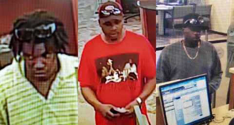 Clarksville Police are trying to identify the three suspects in this photo for fraudulently cashing checks.
