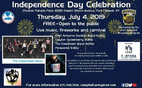 Fort Campbell Independence Day Concerts, Fireworks set for Thursdat, July 4th, 2019.