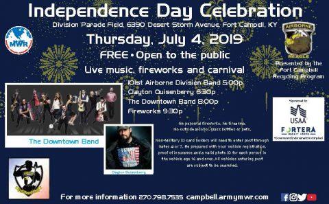Fort Campbell Independence Day Concerts, Fireworks set for Thursdat, July 4th, 2019.