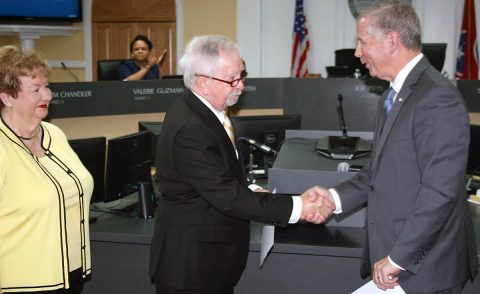 Gary Norris is congratulated by Clarksville Mayor Joe Pitts on being elected Clarksville City Council Councilman for Ward 11.
