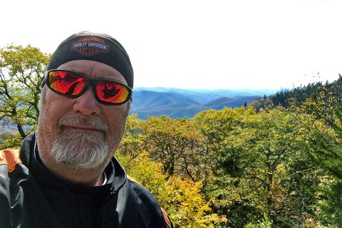 Hank Motorcycling in the Mountains.