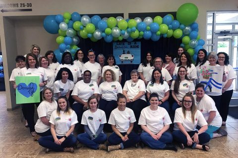 Montgomery County Clerk's employees show their support for the organ and tissue donor registry.