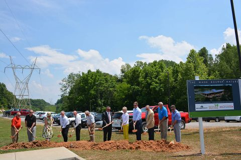 (L to R) County Commissioner Ricky Ray; County Commissioner David Harper; Laurina Lane; DBS & Associates President David Smith; County Commissioner Joe Creek; Lane Lyle; Mayor Durrett; Becky Bourne; Hampton Bourne; Frank Lott; Jerry Allbert and B.R. Miller and Company Owner Mike Boisseau.