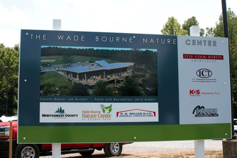 Wade Bourne Nature Center construction sign.