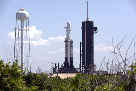 A SpaceX Falcon Heavy rocket is ready for launch on the pad at Launch Complex 39A at NASA's Kennedy Space Center in Florida on June 24, 2019. SpaceX and the U.S. Department of Defense will launch two dozen satellites to space, including four NASA payloads that are part of the Space Test Program-2, managed by the U.S. (NASA/Kim Shiflett)