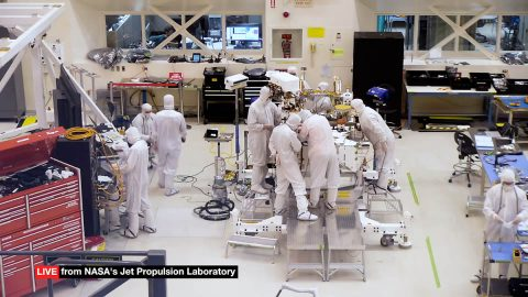 "The ""Seeing 2020"" live video feed allows the public to watch engineers and technicians assemble and test NASA's next Mars rover in a clean room at the Jet Propulsion Laboratory in Pasadena, California. (NASA/JPL-CalTech)"