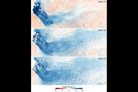 These images show the mass Greenland's Jakobshavn Glacier has gained from 2016-17, 2017-18 and 2018-19. Areas with the most growth - about 33 yards (30 meters) - are shown in dark blue. Red areas represent thinning. The images were produced using GLISTIN-A radar data as part of NASA's Ocean's Melting Greenland (OMG) mission. (NASA/JPL-Caltech / NASA Earth Observatory)