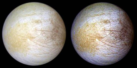 Tara Regio is the yellowish area to left of center, in this NASA Galileo image of Europa's surface. This region of geologic chaos is the area researchers identified an abundance of sodium chloride. (NASA/JPL/University of Arizona)