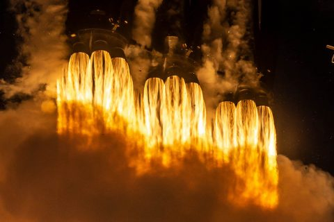 New technology from NASA's Jet Propulsion Laboratory will launch on the first night flight of the SpaceX Falcon Heavy on June 25th, 2019, from Cape Canaveral, Florida. The technology includes an atomic clock for self-driving spacecraft, climate-observing satellites and more. (SpaceX)