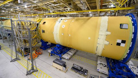 The forward part and liquid hydrogen tank for the core stage were connected to form most of the massive core stage that will propel the SLS rocket on the first Artemis 1 mission to the Moon. (NASA/Eric Bordelon)