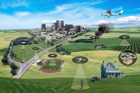 NASA is researching a nation wide system for managing drone traffic. (NASA)