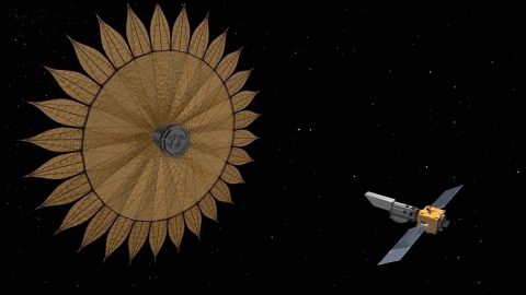 This artist's concept shows the geometry of a space telescope aligned with a starshade, a technology used to block starlight in order to reveal the presence of planets orbiting that star. (NASA/JPL-Caltech)