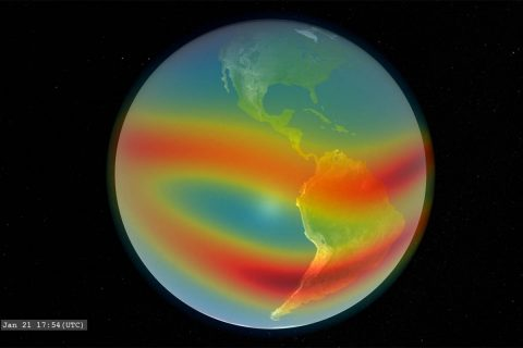 This visualization shows the relative density of certain particles in Earth's ionosphere. The E-TBEx CubeSats will explore how signals from satellites to Earth can be disrupted as they pass through this region. (NASA)