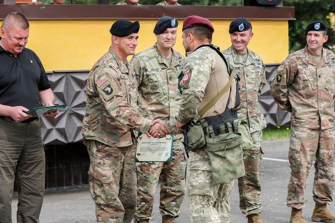 The Joint Multinational Training Group - Ukraine bid farwell to the 95th Air Assault Brigade of the Armed Forces of Ukraine during a rotational training closing ceremony July 13, Yavoriv Ukraine. (U.S. Army photos by Sgt. Justin Navin)