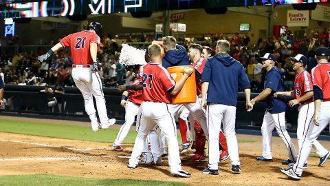 Nashville Sounds Completes Comeback against New Orleans Baby Cakes with Three Solo Home Runs. (Nashville Sounds)