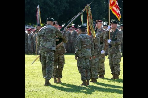 Maj. Gen. Edwin J. Deedrick Jr., the commanding general of 1st Special Forces Command (Airborne), passes the 5th Special Forces Group (Airborne) colors to Col. Joseph W. Wortham, 5th SFG (A) commander, during the 5th SFG (A) change of command ceremony at Fort Campbell, Ky., July 12, 2019. (SSG Iman Broady-Chin, 5th SFG(A) Public Affairs)