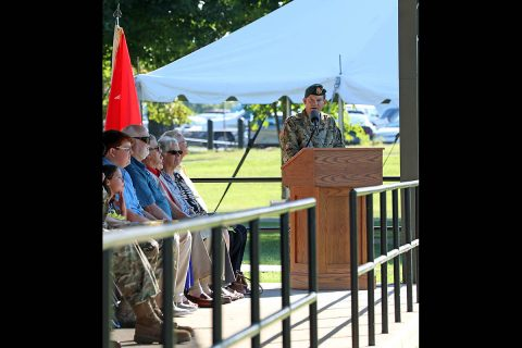 Col. Lewis Jay Powers, outgoing commander of the 5th Special Forces Group (Airborne), speaks to Soldiers, family members and friends during the 5th SFG (A), during the 5th SFG (A) change of command ceremony at Fort Campbell, Ky., July 12, 2019. (SSG Iman Broady-Chin, 5th SFG (A) Public Affairs)