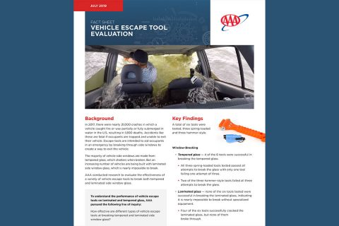 AAA - Vehicle Escape Tool Fact Sheet page 1. (AAA)