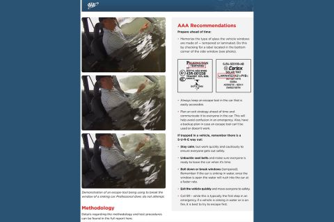 AAA - Vehicle Escape Tool Fact Sheet page 2. (AAA)