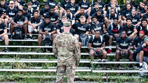 Austin Peay Football players sent the day with Fort Campbell soldiers doing team building exercises. (APSU Sports Information)