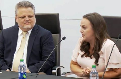 Dr. Jeff Thompson and Jaclyn Lyons talk to the Austin Peay State University Board of Trustees. (APSU)