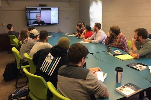 Austin Peay Students talk with historian Keri Leigh Merritt from Atlanta using video Conferencing. (APSU)