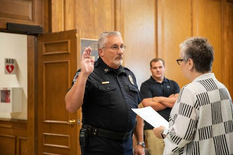 Sammie Williams is sworn in as police chief by Austin Peay State University President Alisa White. (APSU)