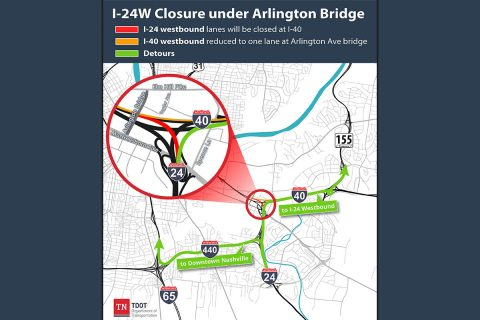 I-24 Closure under Arlington Bridge.