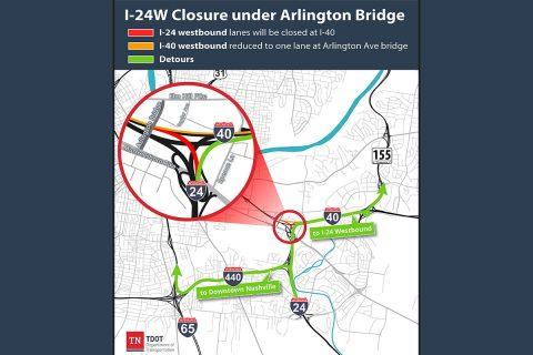 I-24 Closure under Arlington Bridge.