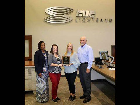 CDE Lightband employees (L-R): Yolanda Davis, HR administrator; Alayna Stevens, business development coordinator; Lindsey Pease, community affairs coordinator; Brian Taylor, general manager.