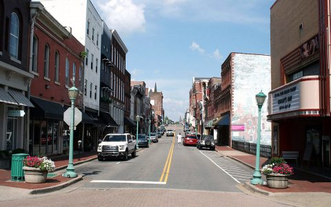 The 100 block of Franklin Street is temporarily treeless as the City of Clarksville prepares to add new trees and planters to the street in early October.