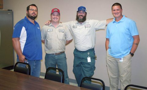 Crew Chief Charles Simon, maintenance specialists James Barrineau and Brandon West, and Rodney Ammons, Clarksville Parks and Recreation Grounds & Facilities Maintenance Manager, are happy to have a new break room as part of their workplace at 1210 Franklin Street. Their project provided improved office space and work areas.