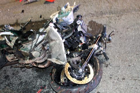 The 2007 Suzuki motorcycle Jeffrey Clark was riding after the crash.