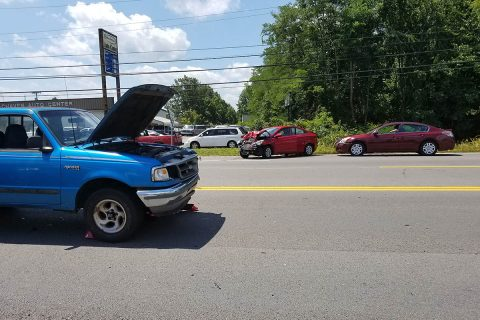 Clarksville Police respond to a Three Car accident on Madison Street Friday that sent two people to the hospital.