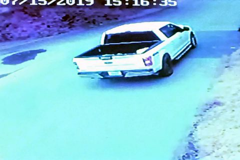 Clarksville Police are looking for the white Ford F-150 truck in this photo that sped away after the shooting.