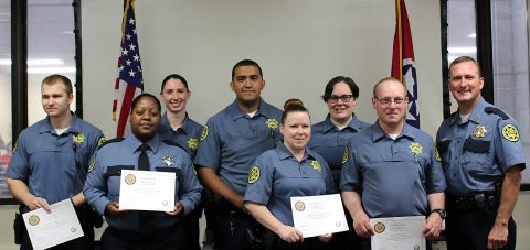 Montgomery County Sheriff John Fuson congradulates essica Asebedo, Henry Bailey, Christie Burgess, Neil Darnell, Michelle Head, Joshua Ramos, and Lauren Trinkle on finishing the Jail Field Training Officers (FTO) Program.