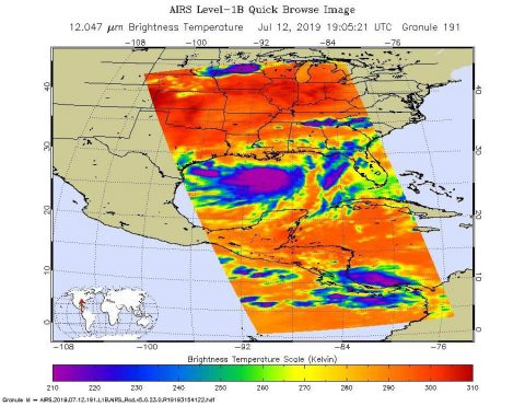 NASA's AIRS instrument aboard the Aqua Satellite imaged Tropical Storm Barry on the afternoon of July 12, 2019, a day before the storm is expected to make landfall on the Louisiana Coast. (NASA/JPL-Caltech)