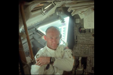 Aldrin inside the LM Eagle during the first activation, on the way to the Moon.