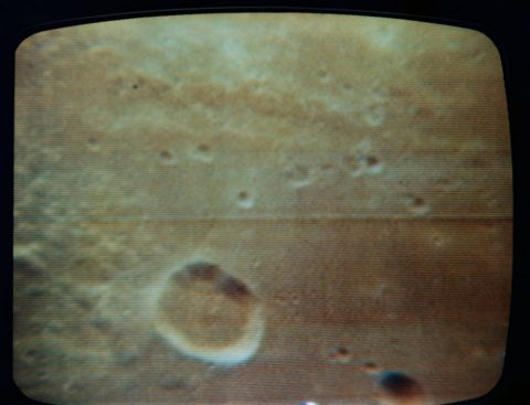 View of the Moon from Apollo 11's first TV broadcast from lunar orbit. The Mare Fecunditatis.